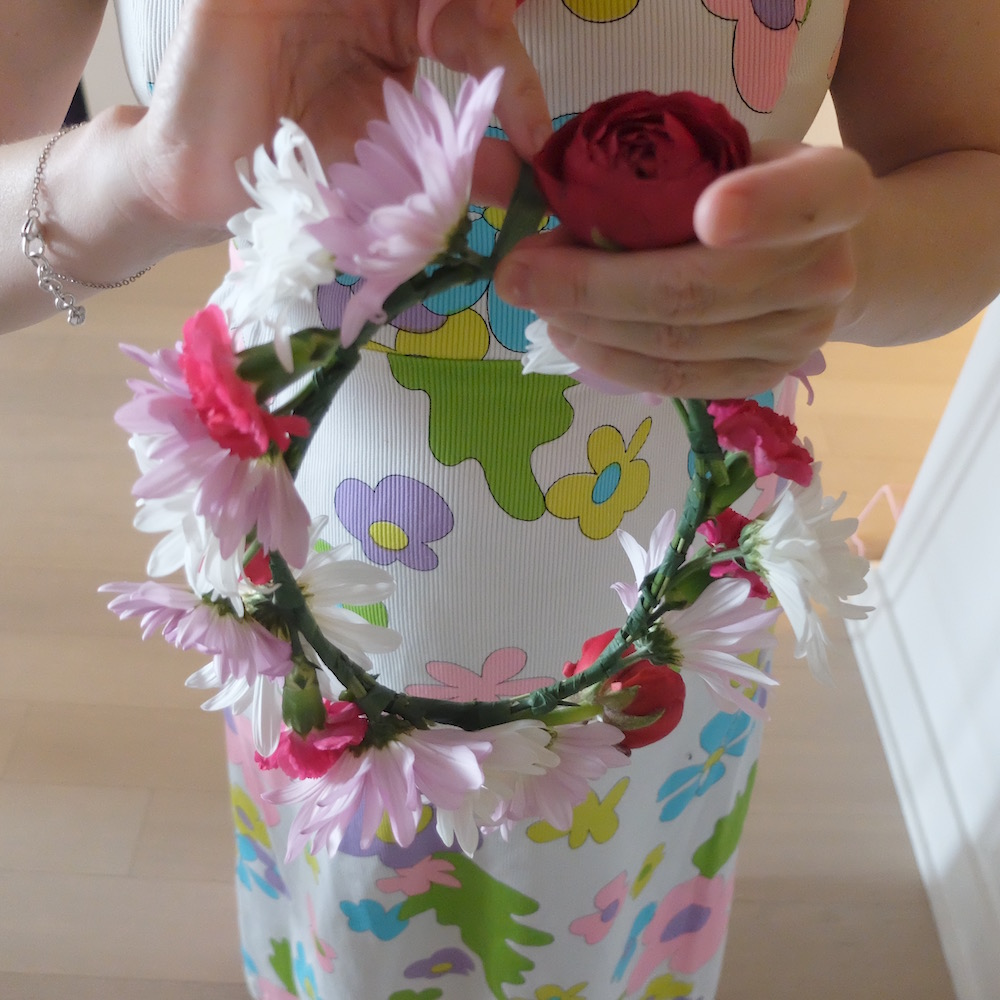 Making a fresh flower wreath to wear as a spring crown. Happy May Day!