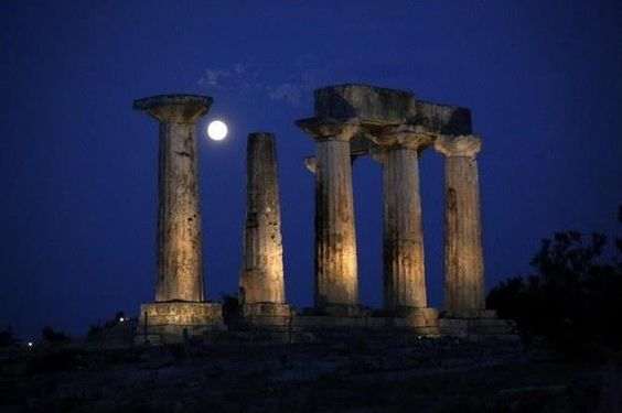 Full mooon at The Temple of Apollo Ancient Corinth Greece