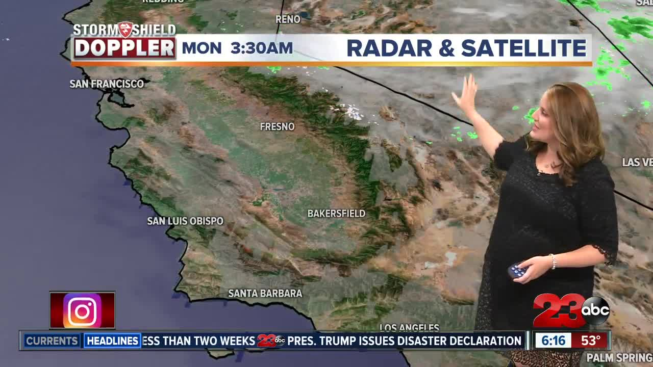 this far south i ll only leave a 10 20 chance of thunderstorms but i think we ll actually just stay mostly sunny and enjoy the low to mid 70s in the kern