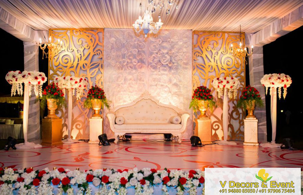 V Decors And Events Wedding Reception Stage Decoration In Madurai