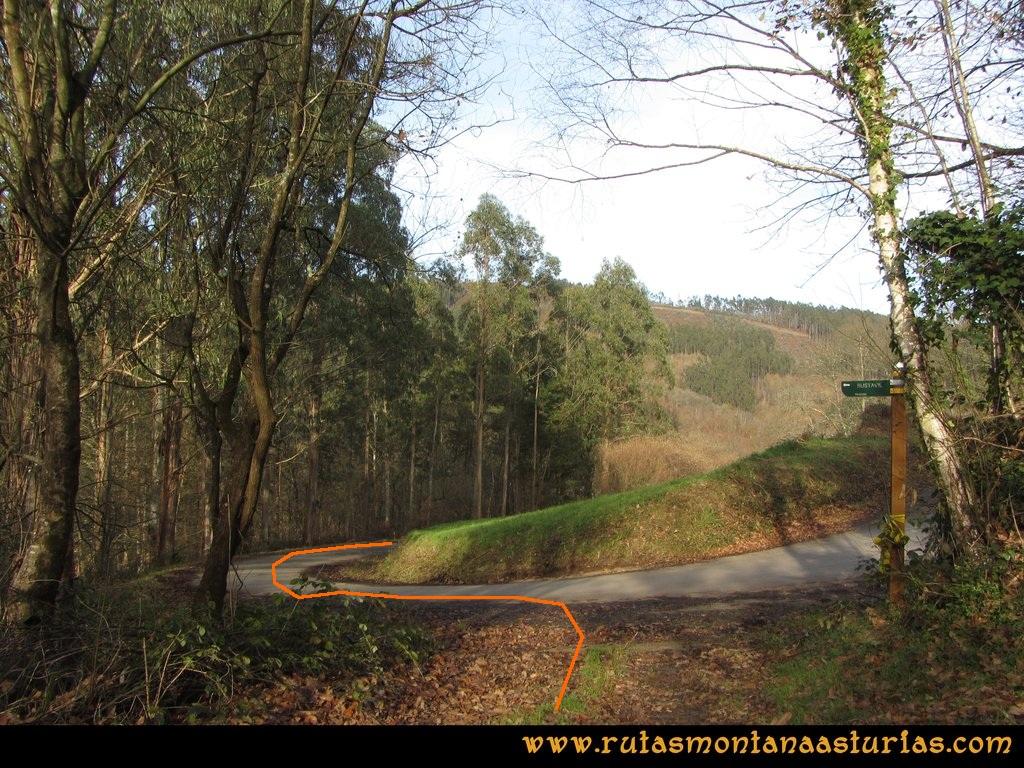 Senda de Bustavil, Tineo, PR AS-288: Cruce con carretera