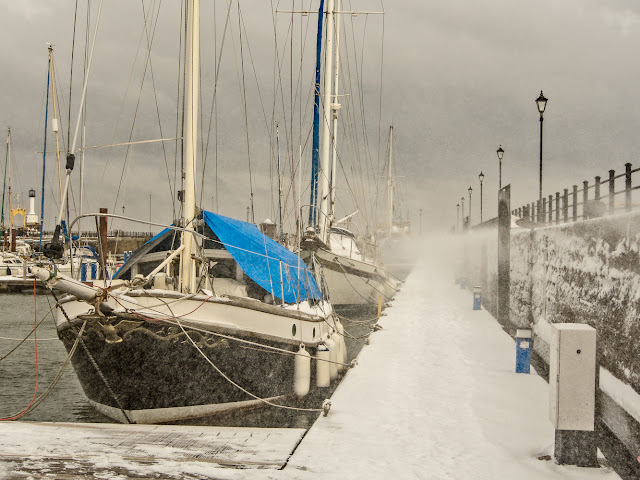 Photo of snow at Maryport Marina in February of this year