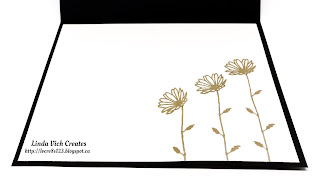 Linda Vich Creates: Gold Dipped Daisies. Dramatic mix of black and gold on this card that features the Daisy Punch.