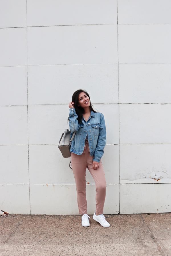 Jean Jacket, Blush Pink Pants, White Sneakers
