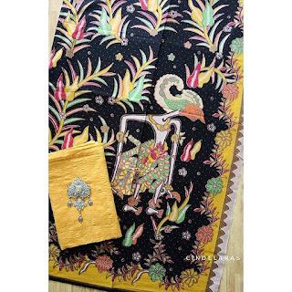 Kain batik wayang lama kuning mix embos
