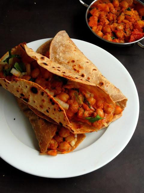 Aloo channa chappathi wraps