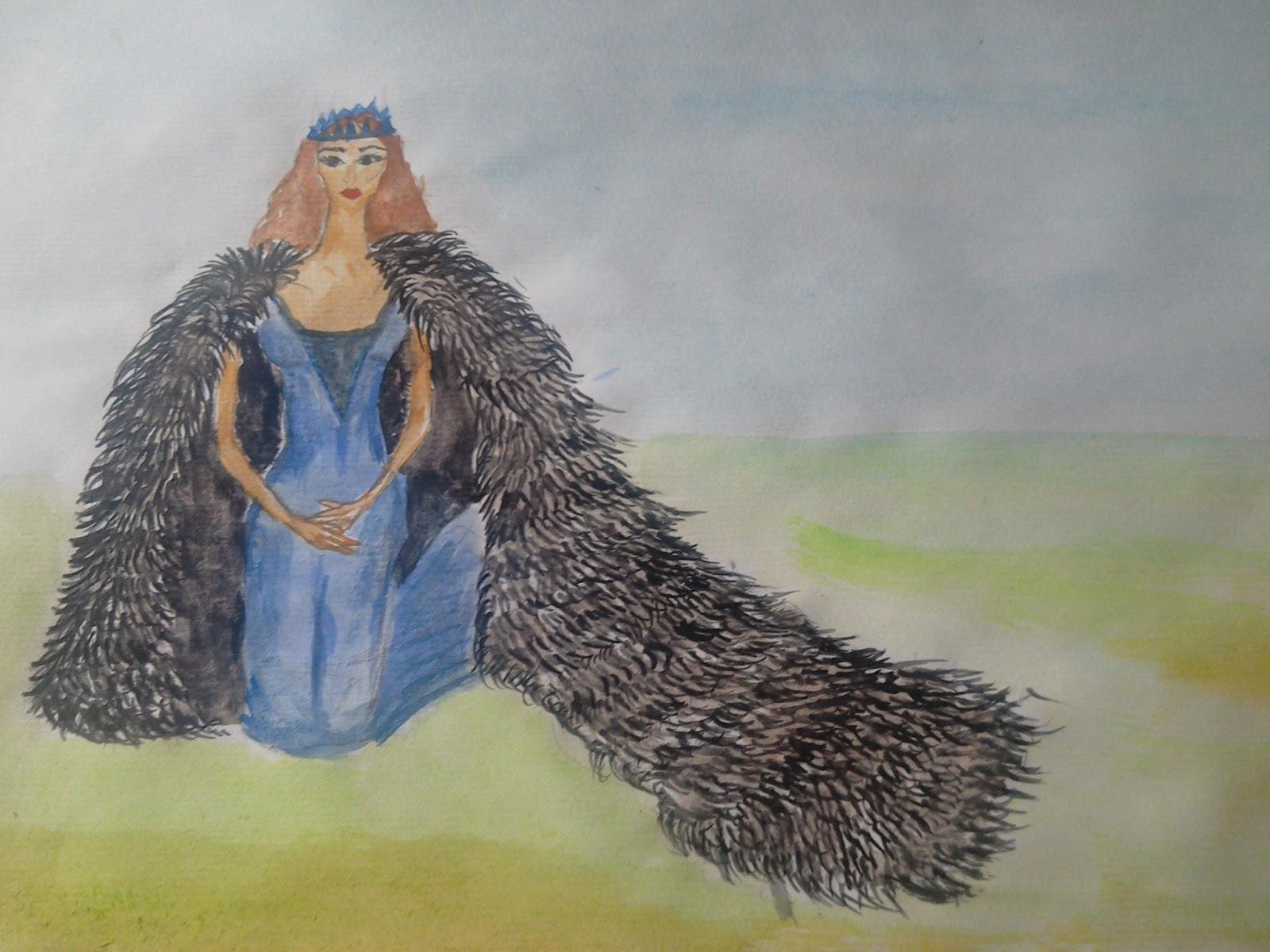 blue dress #princess #furcoat #queen