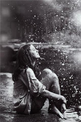 cute girl enjoying rain profile dp