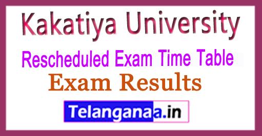 Kakatiya University KU Rescheduled Exam Time Table 2018