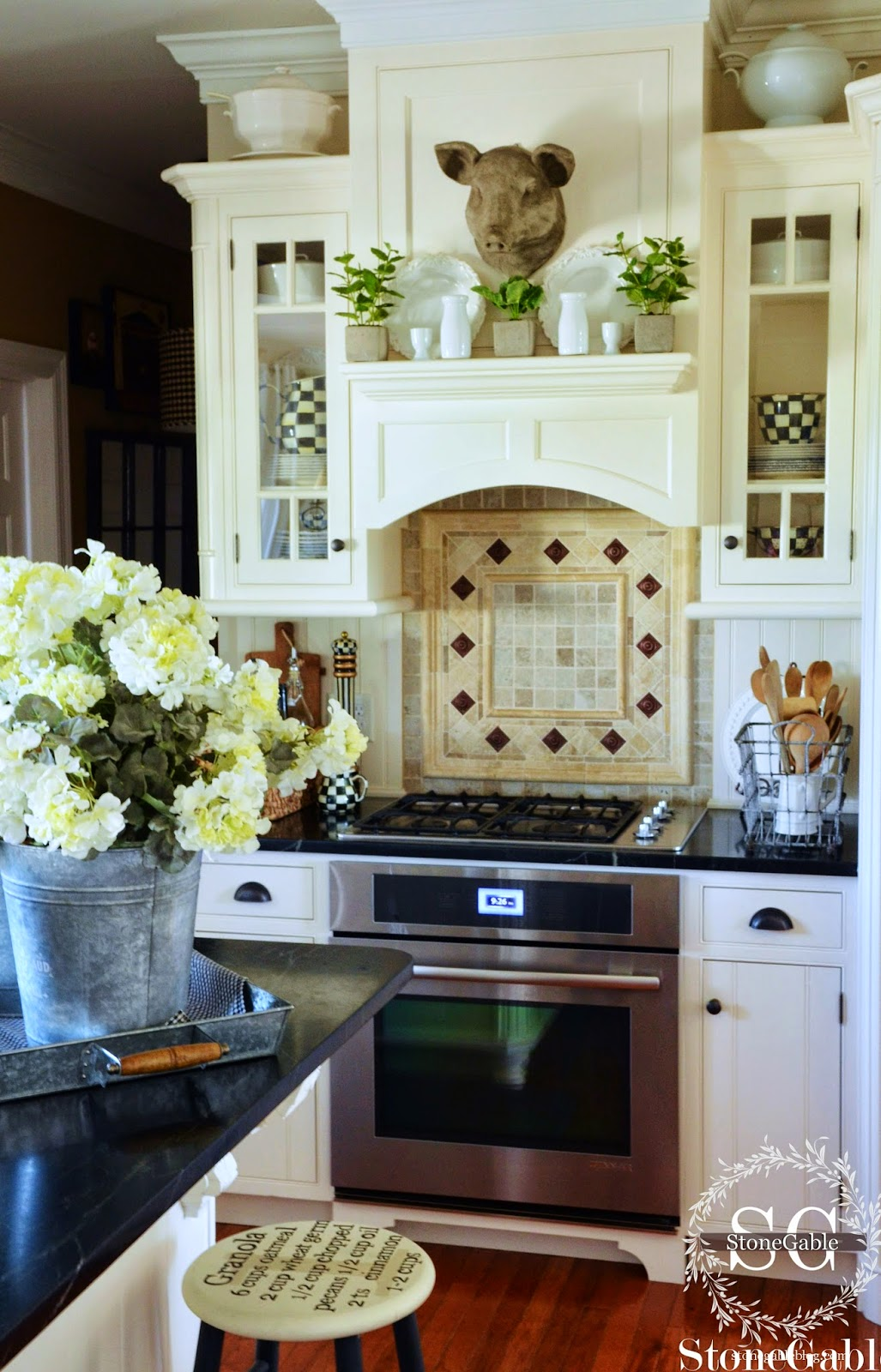 The wire basket (Decor Steals) holds two white ironstone ...