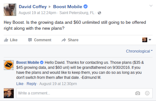 Grandfathered Plans - Boost Mobile on Facebook