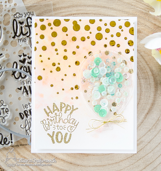 Birthday Shaker Card by Tatiana Trafimovich | Uplifting Wishes Stamp Set, Bubbly Stencil and Balloon Shaker Die Set by Newton's Nook Designs #newtonsnook #handmade