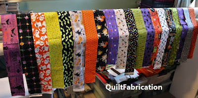 strips of Halloween fabric