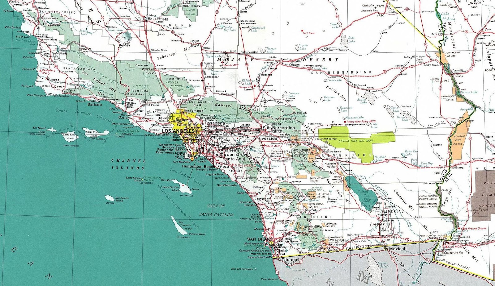 It is a picture of Exceptional Printable Map of Southern California
