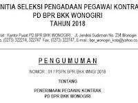 Penerimaan Pegawai Kontrak PD BPR BKK WONOGIRI Tahun 2018