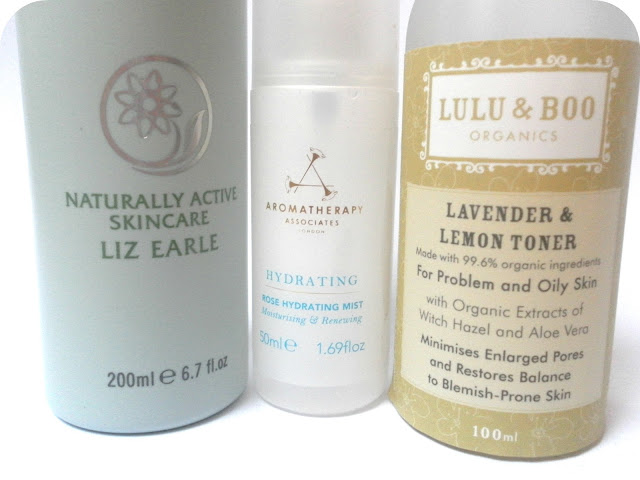 Liz Earle Instant Boost Skin Tonic, Aromatherapy Associates Rose Hydrating Mist and Lulu and Boo Lavender and Lemon Toner