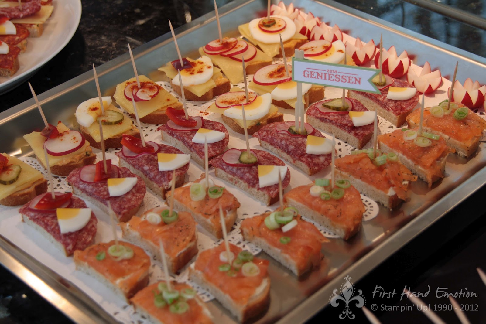 Party Snacks Schnell Zubereitet First Hand Emotion Stampin 39 Up Spiesschen Am Kalten Buffet