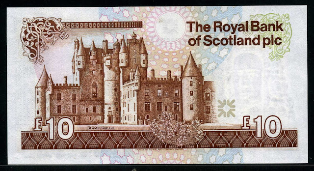 Scottish banknotes 50 Pounds Royal Bank of Scotland currency Glamis Castle