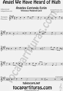 Partitura de para Trompeta y Fliscorno Villancico Christmas Carol Sheet Music for Trumpet and Flugelhorn Music Scores