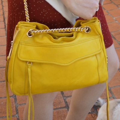 Away From Blue | Rebecca Minkoff Swing bag in canary yellow worn cross body