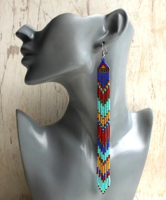 куплю длинные серьги из бисера в этно стиле бижутерия авторская красивая цена