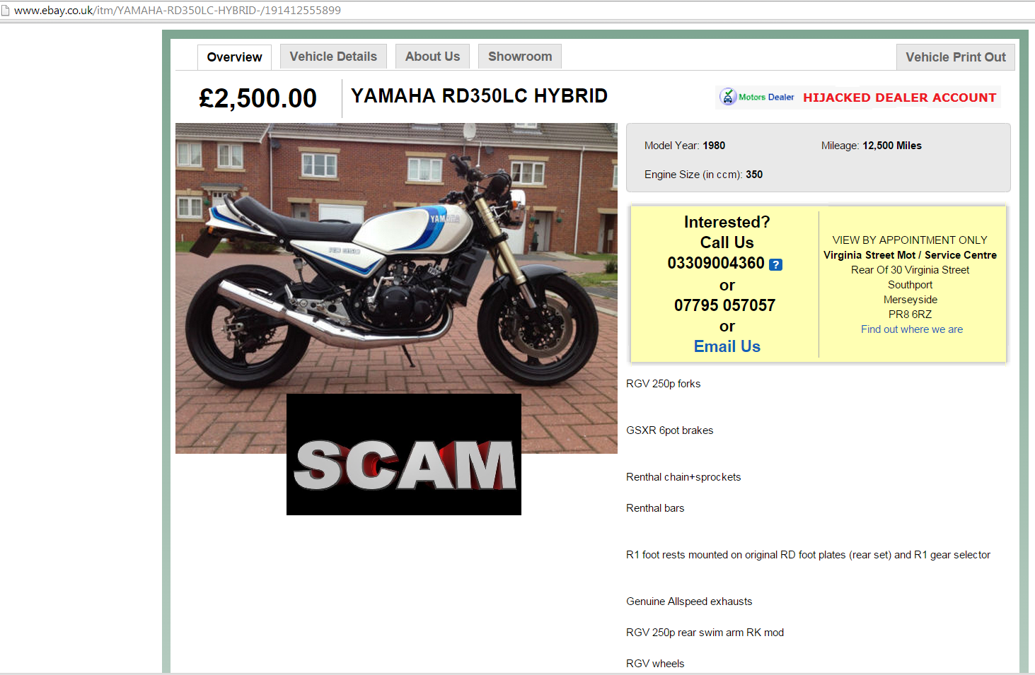 Ebay scam yamaha rd350lc hybrid motorbike \