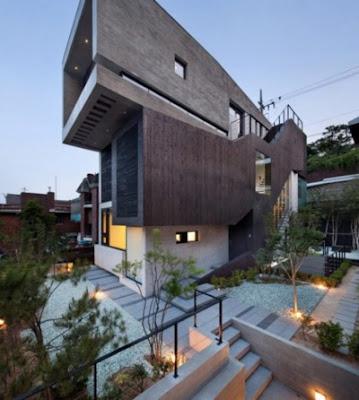Tampak Depan Rumah Minimalis 2 Lantai kontemporer