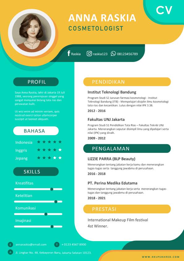 Contoh CV Lamaran Kerja Berwarna Curriculum Vitae
