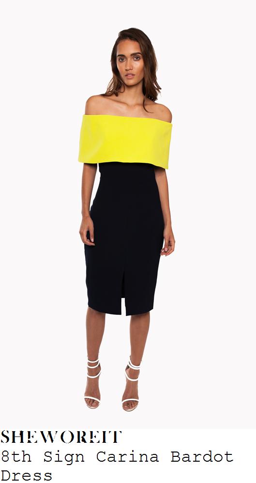 jessica-wright-bright-lime-yellow-dark-blue-black-colour-block-bardot-off-shoulder-midi-dress-brits-2016