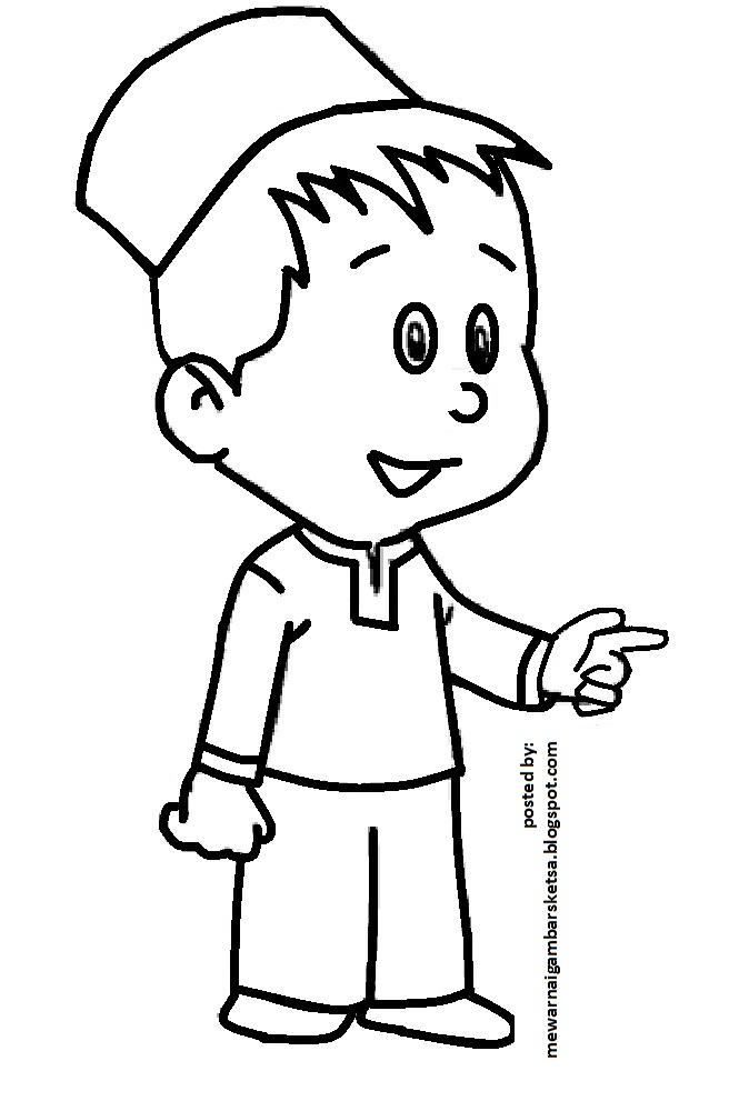 Mewarnai Gambar: Mewarnai Gambar Sketsa Kartun Anak Muslim 32