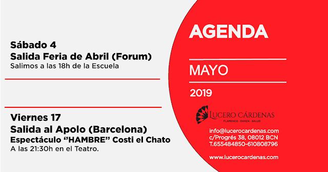 Agenda Mayo 2019 Escuela Flamenco Lucero Cárdenas