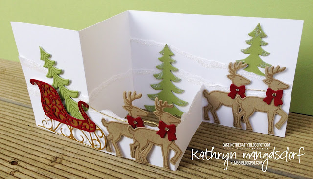 Stampin' Up! Santa's Sleigh Bundle, Christmas Card, Double Z Fold Card by Kathryn Mangelsdorf