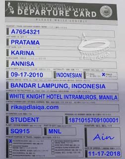 kartu keberangkatan (departure card)
