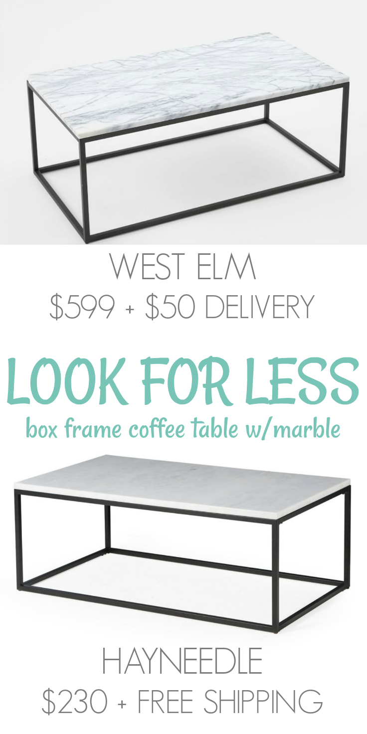 less marble box frame coffee table