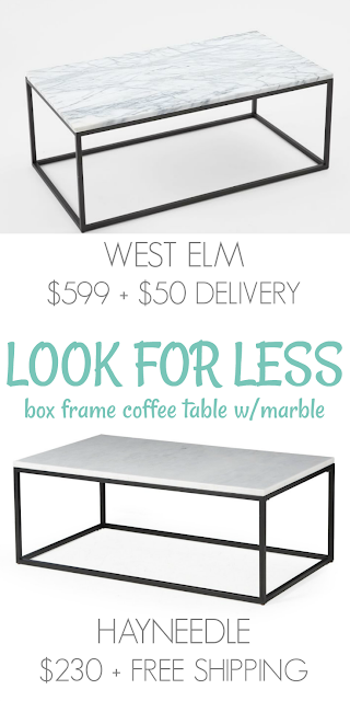 Look for Less: Marble Box Frame Coffee Table - Away She Went
