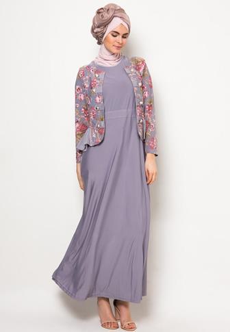 Baju Gamis Batik Kombinasi Polos Modern