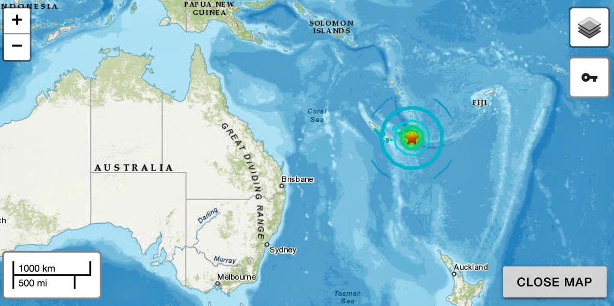 """Terremoto Oggi Isole della Lealtà M7,6: Allarme di """"pericoloso tsunami"""" in un raggio di 1000 KM."""