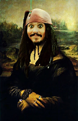 Funny Johny Depp Jack Sparrow Mona Lisa Painting