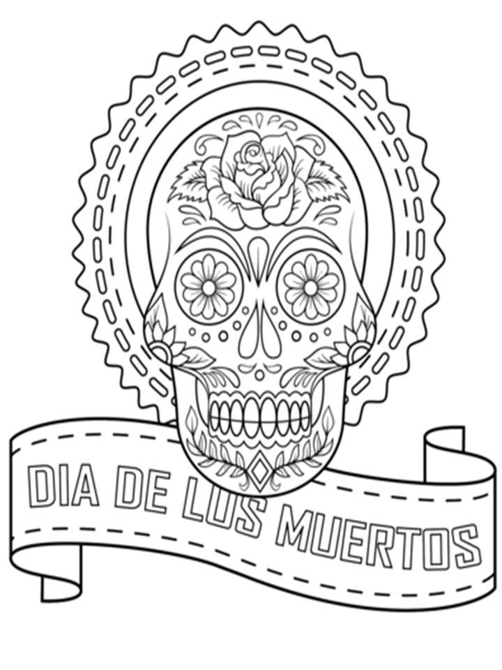 Pinto Dibujos: Dia de los muertos para colorear - mandala calavera
