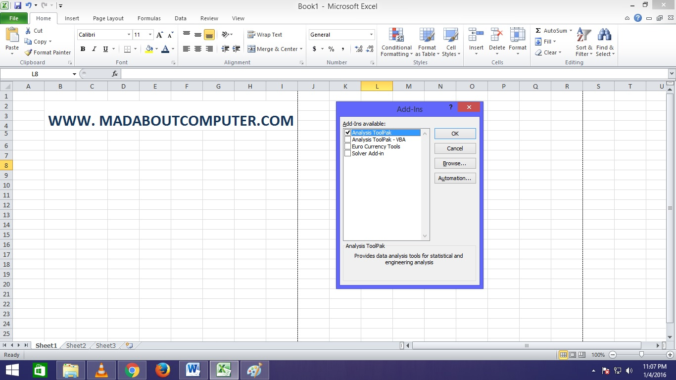 How To Loadysis Toolpak In Excel Mad About