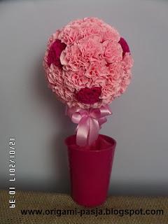 róż, amarant, drzewko, krepa włoska, krepina, na szczęście, urodziny, dzień babci i dziadka