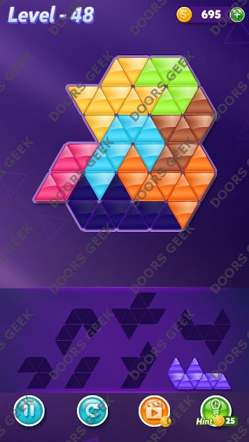 Block! Triangle Puzzle 7 Mania Level 48 Solution, Cheats, Walkthrough for Android, iPhone, iPad and iPod