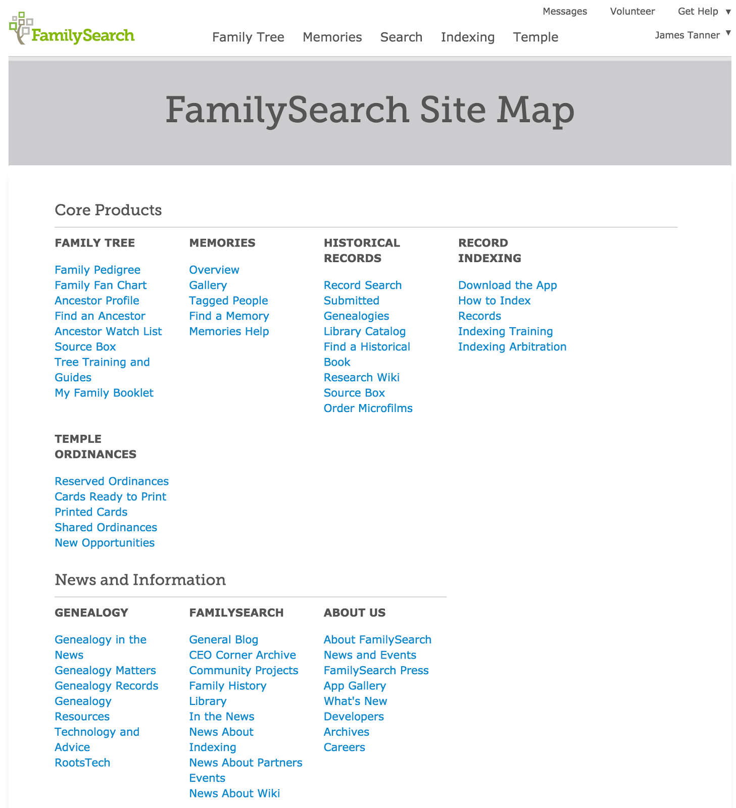 Site Map For Web Page: Rejoice, And Be Exceeding Glad...: The FamilySearch Site Map