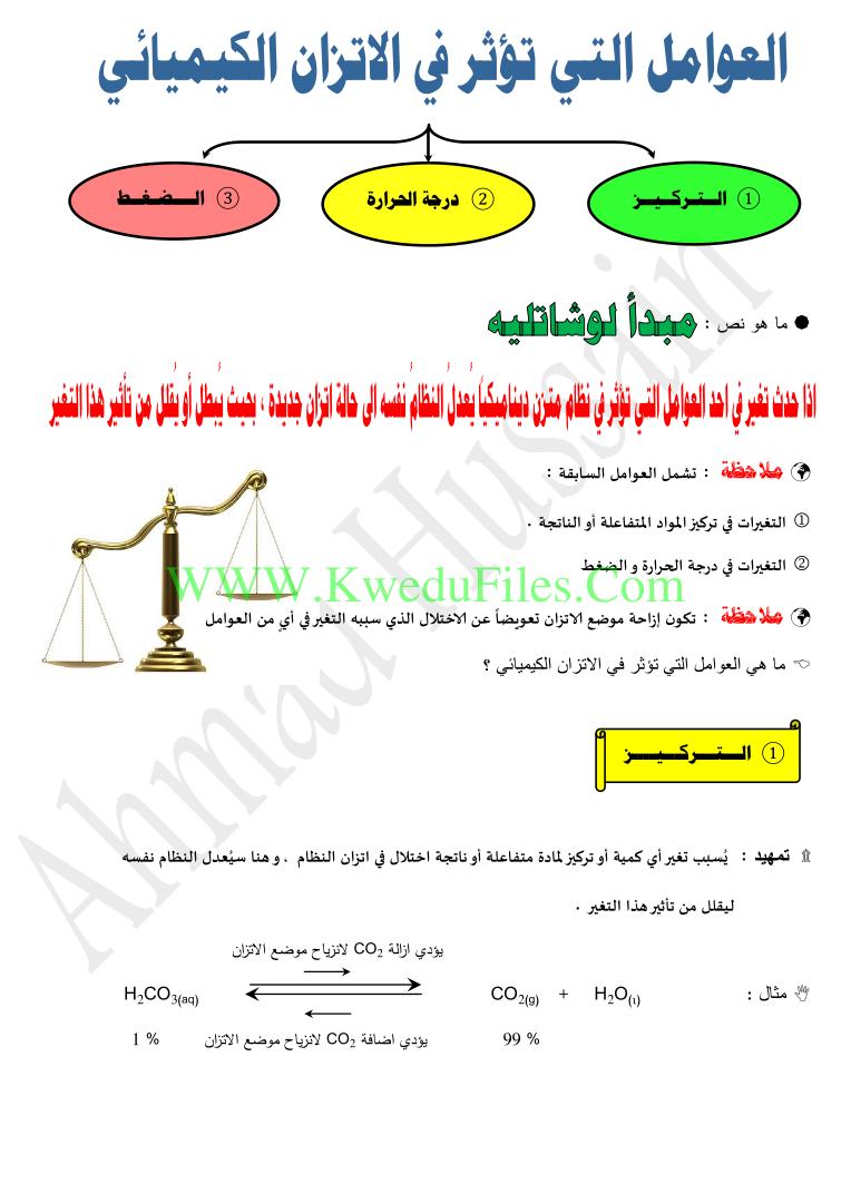 مذكرة الاتزان الكيميائي الصف الثاني عشر العلمي فيزياء الفصل الأول ملفات الكويت التعليمية