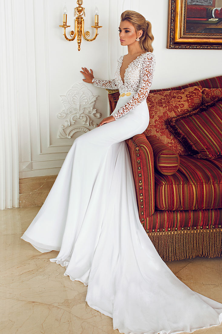 e238c659c490 Wedding Dresses With Sleeves And Long Train