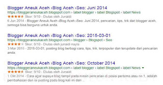 contoh hasil Cara membuat rating bintang rich snippet di blog ataupun web