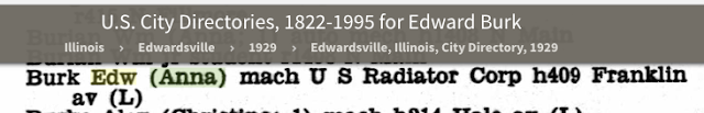 Edward Burk and Anna Burk in Edwardsville, Illinois city directory, 1929