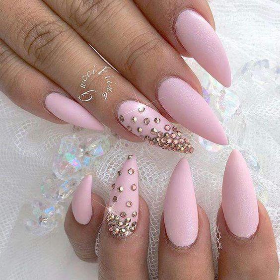 Calendarlabs June : Gorgeous pastel pink matte nails omg love beauty