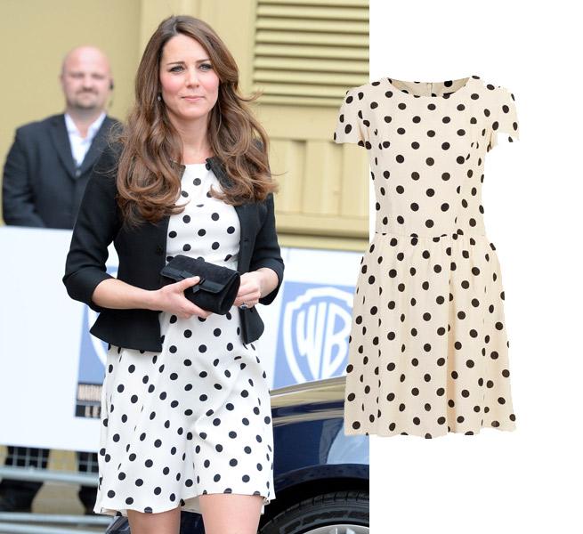 Kate Middleton, Warner Bros, Duchess of Cambridge, Polka Dot, Topshop, Ebay, Black, White, Print, Dress, Skater Dress, Tea Dress, Fitted Waist, Pleat Detail, Pleated, Mid Length, High Neck, Round Neck