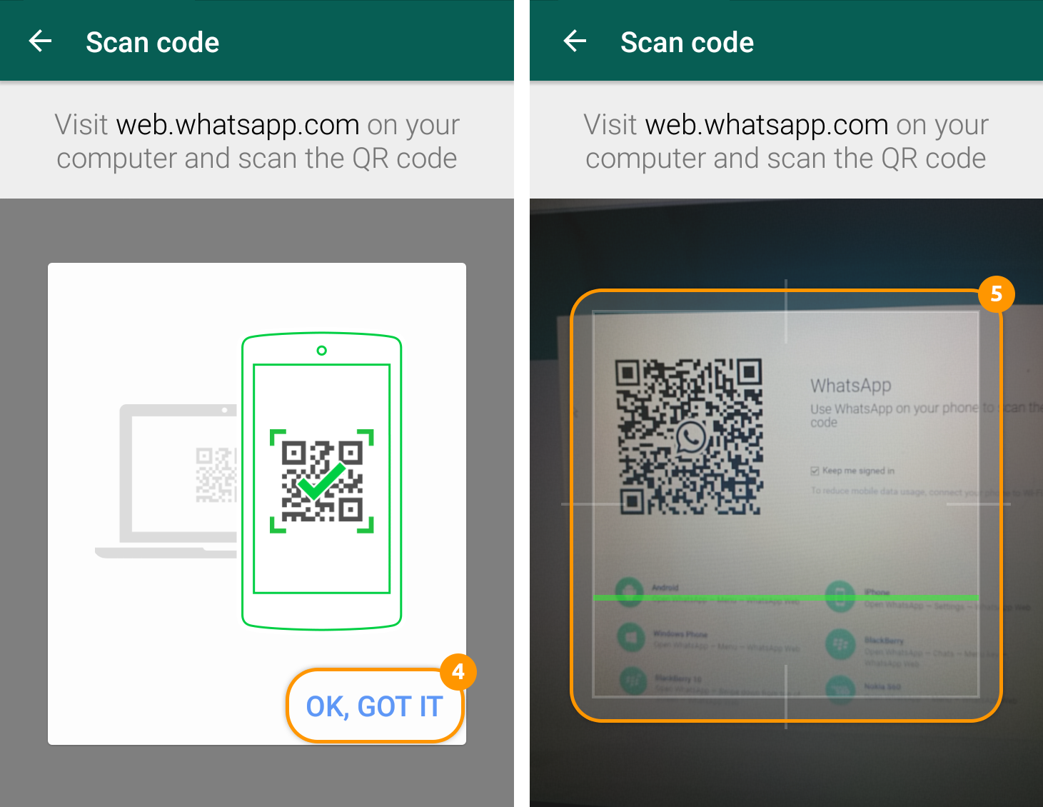 how to scan the Whatsapp QR Web Code